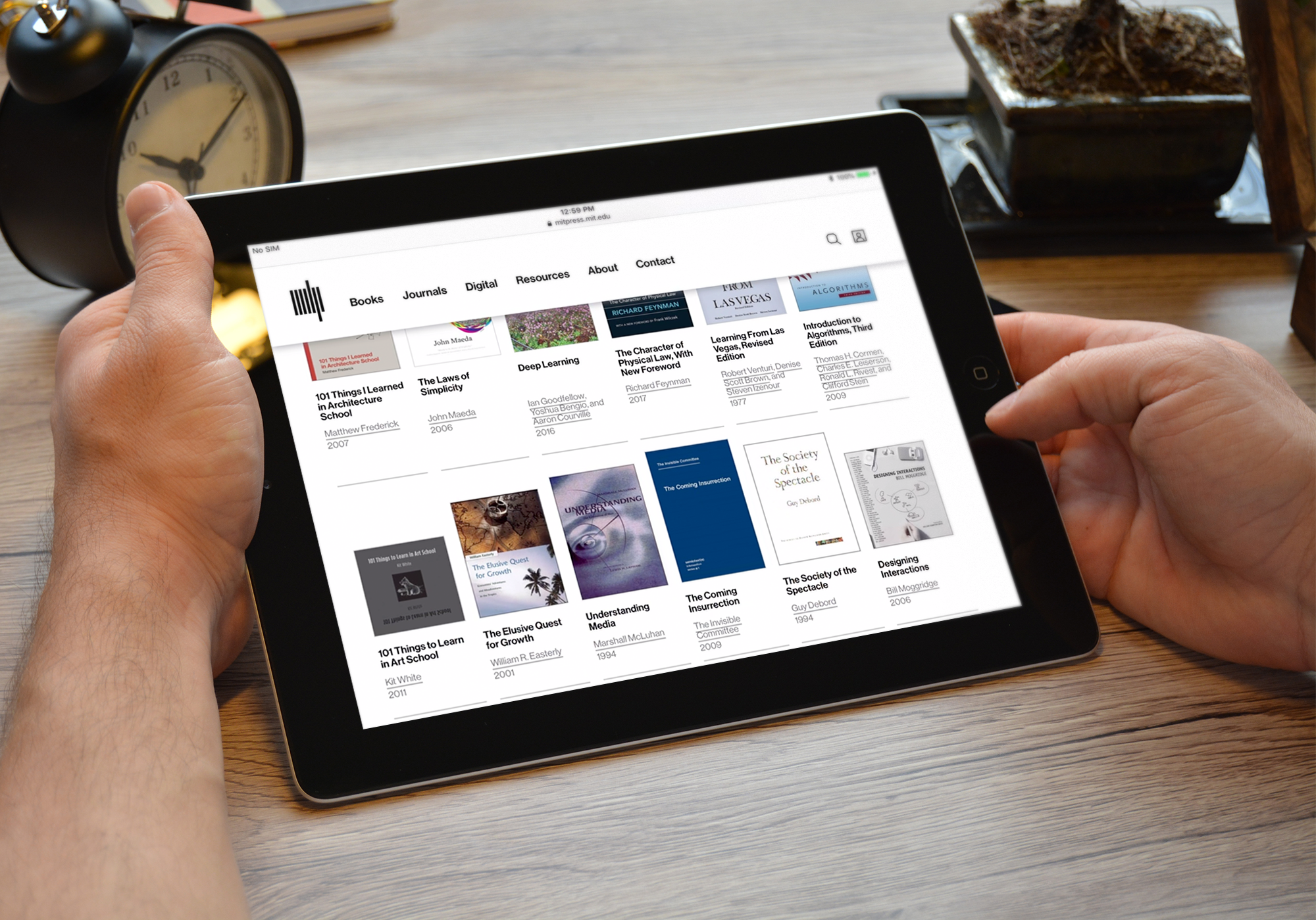MIT Press books on tablet