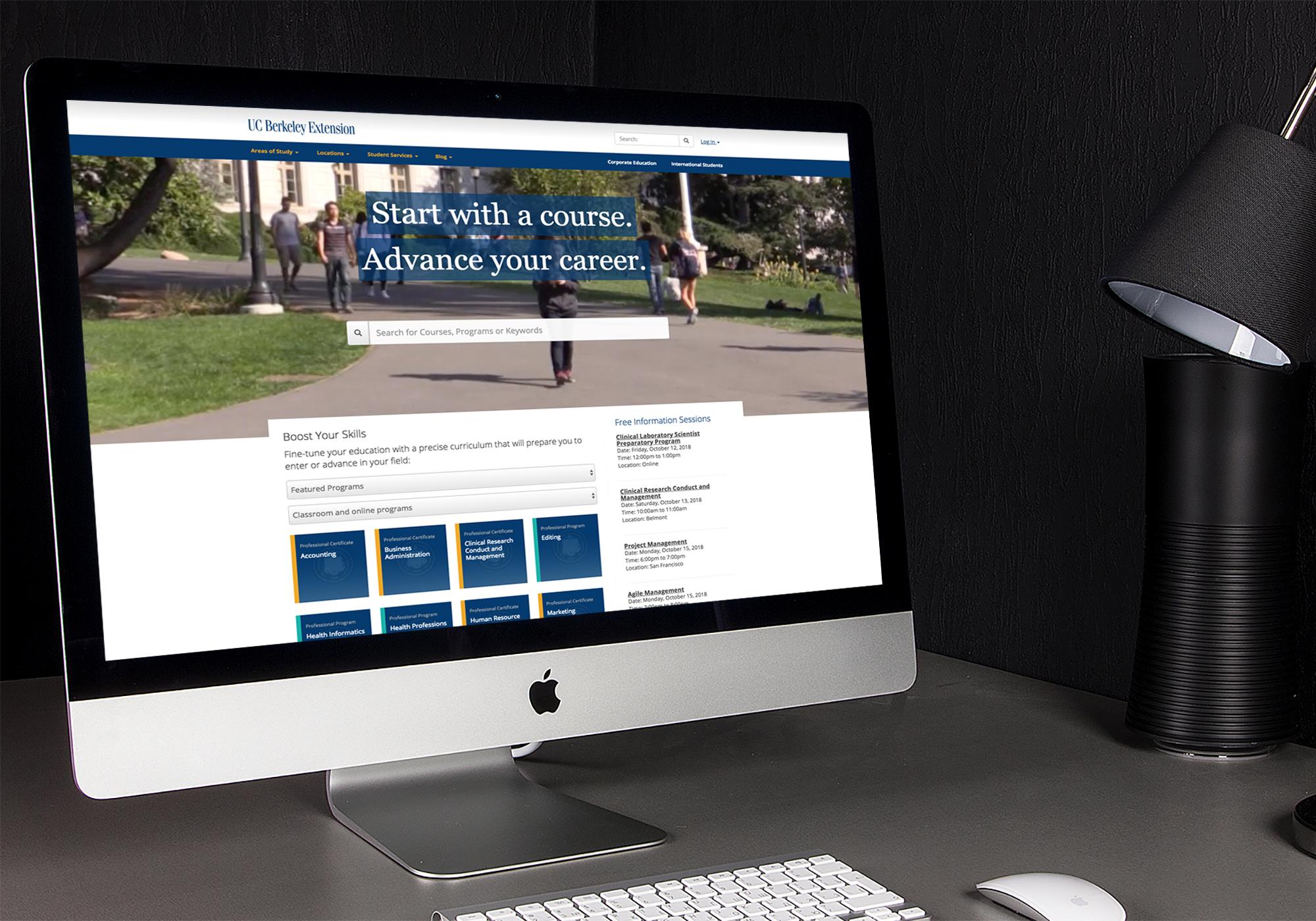 Extension homepage displayed on desktop computer