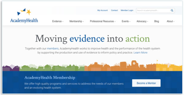 The final AcademyHealth homepage.