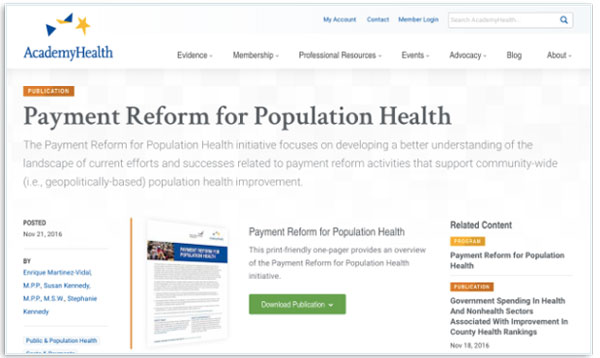 A publication page for AcademyHealth, with related content given prominent location.