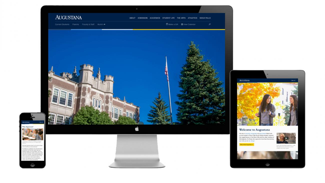 Augustana University's site displayed on various devices to showcase the responsive design.