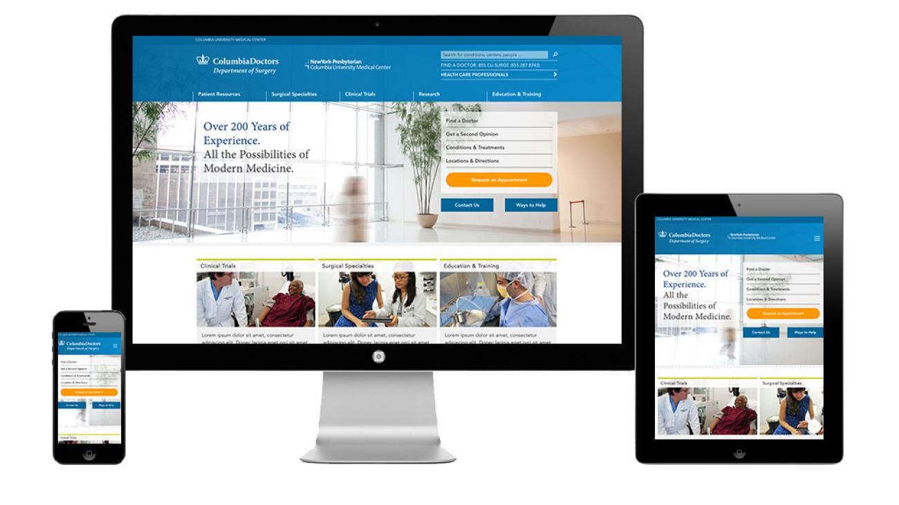 Columbia Surgery site displayed on a desktop, tablet, and mobile phone to showcase the responsive design.