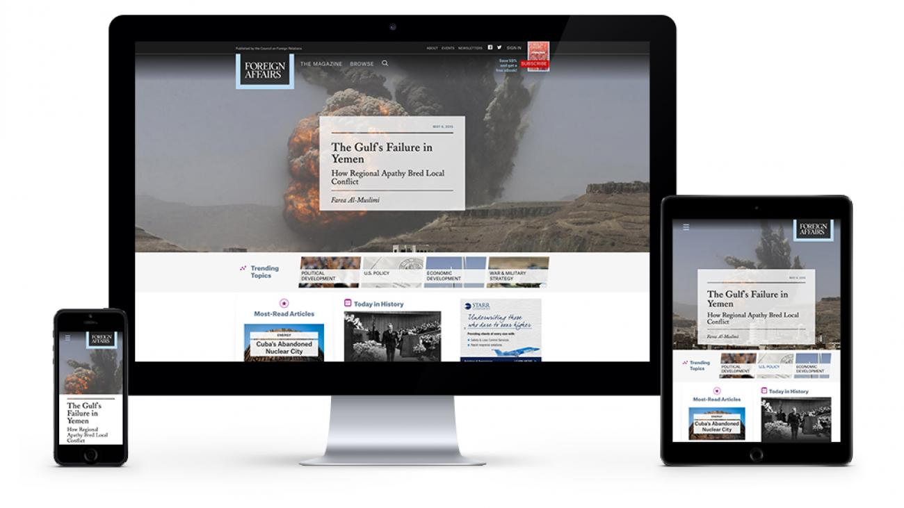 Foreign Affair's site displayed on various devices to showcase the responsive design