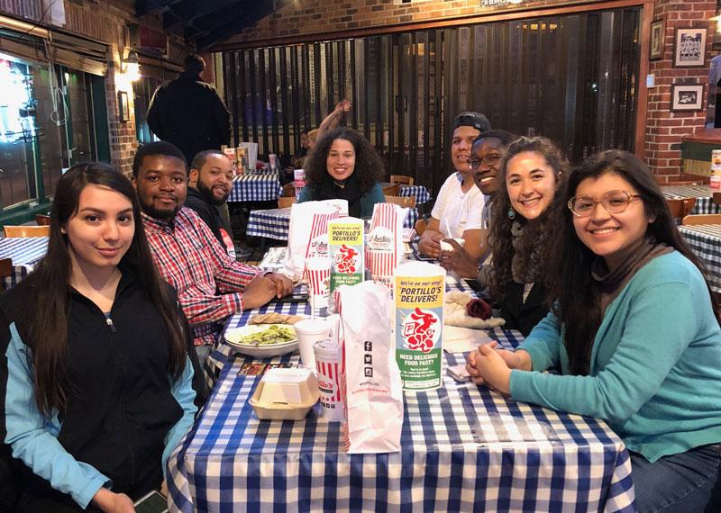 Students eating at Portillo's