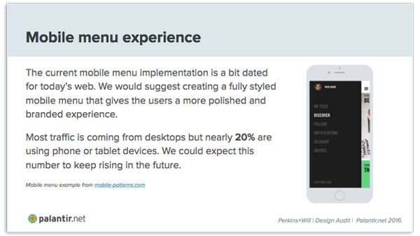 A summary of issues and trends regarding menu navigation on mobile devices.
