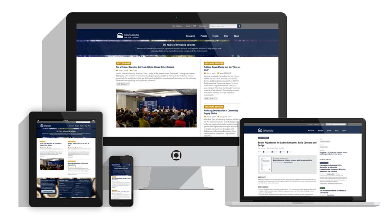 RFF's site displayed on multiple devices to showcase its responsive design.