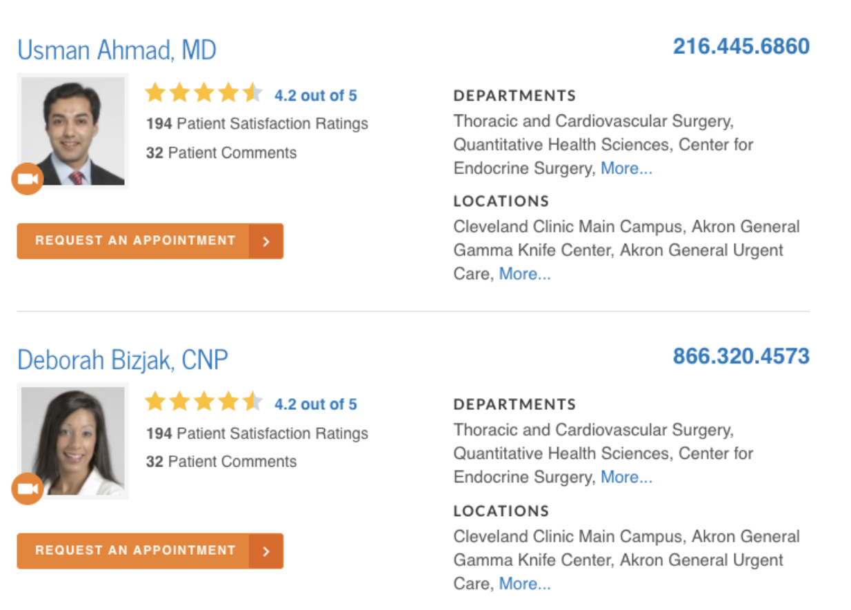 Physician search results
