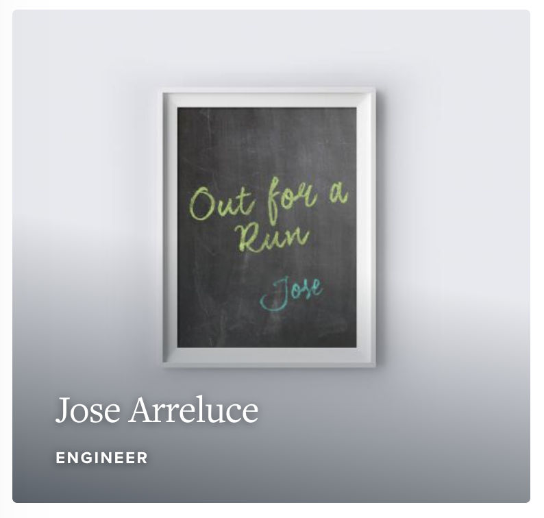 "Chalkboard with text ""Out for a run, Jose"""