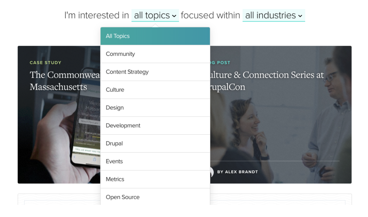 Homepage filtering by topic