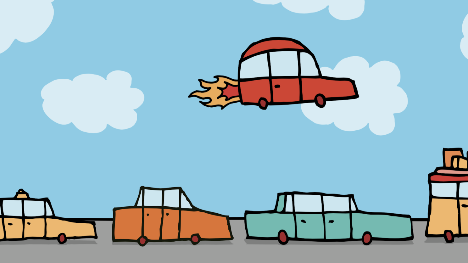 Illustration of red car with flames shooting out of the back, flying over line of cars on sunny roadway.