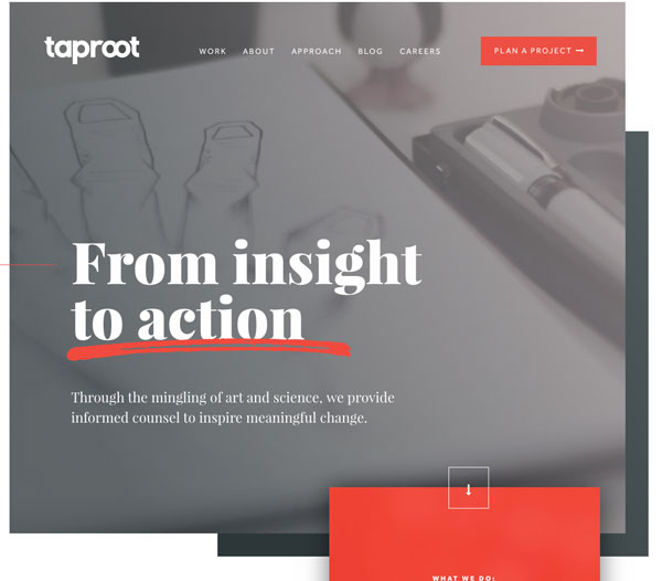 Screenshot of Taproot homepage