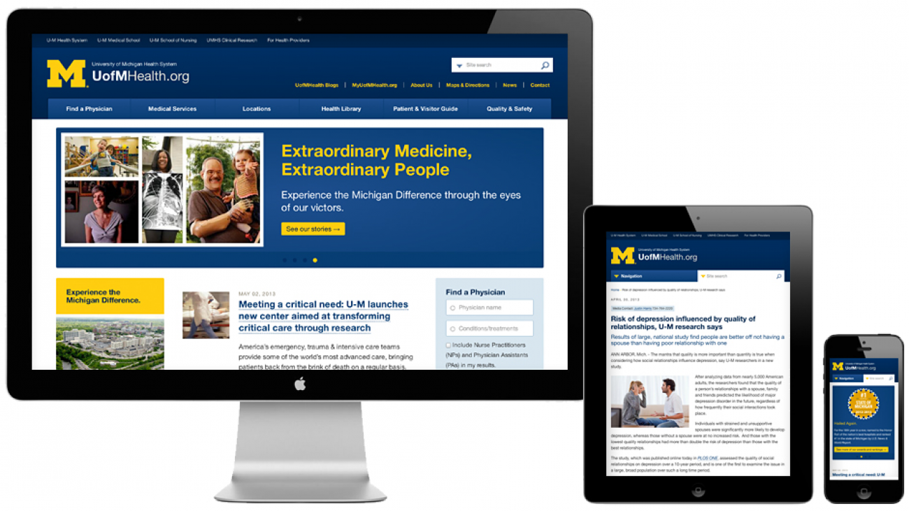 UofM Health's site displayed on various devices to showcase responsive design