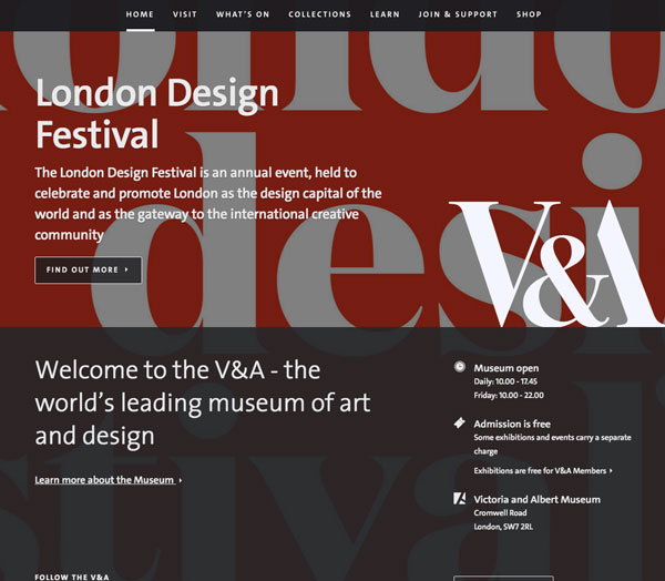 Screenshot of Victoria & Albert Museum homepage