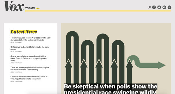 Screenshot of Vox homepage