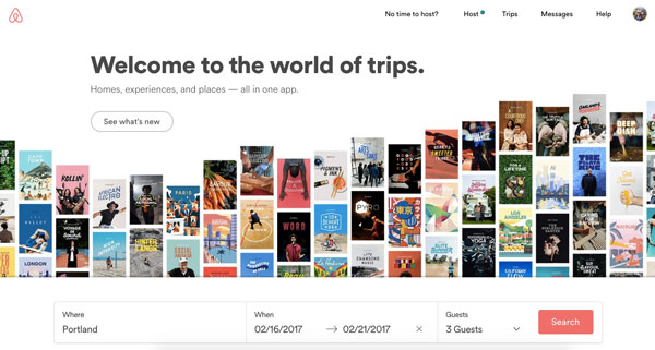 Screenshot of Airbnb homepage