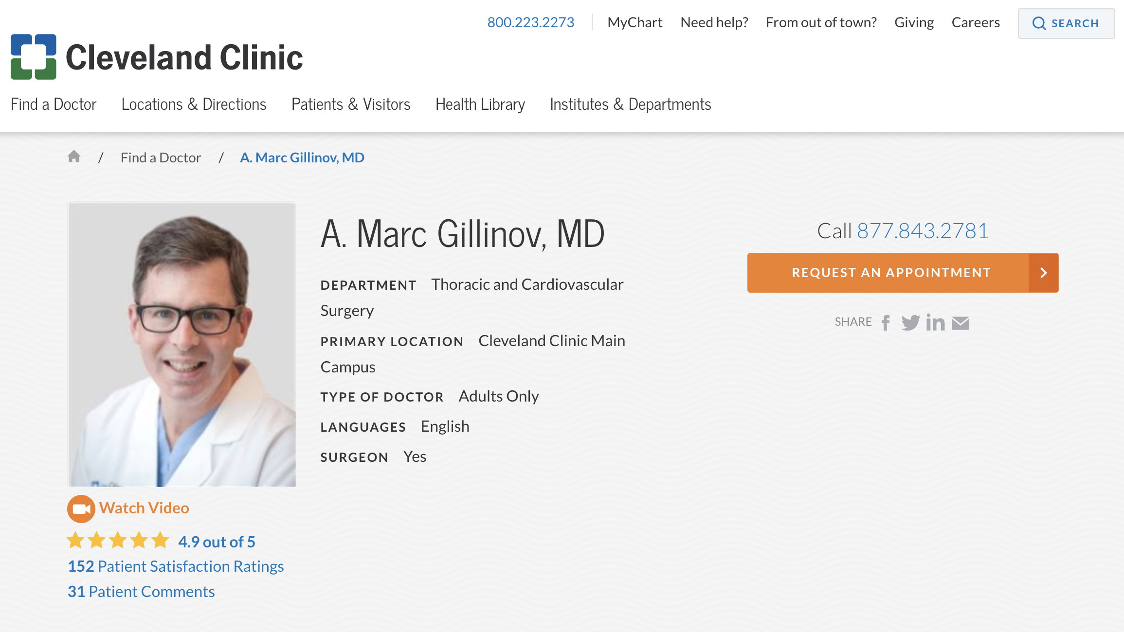 Physician bio page at Cleveland Clinic site