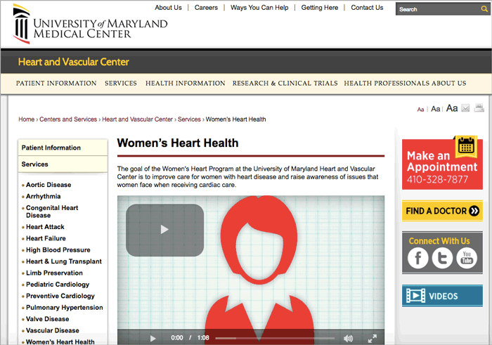 Figure 3: University of Maryland Medical Center Women's Heart Health Program landing page