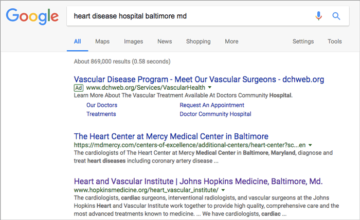"Figure 4: Google search with ""heart disease hospital baltimore md"""