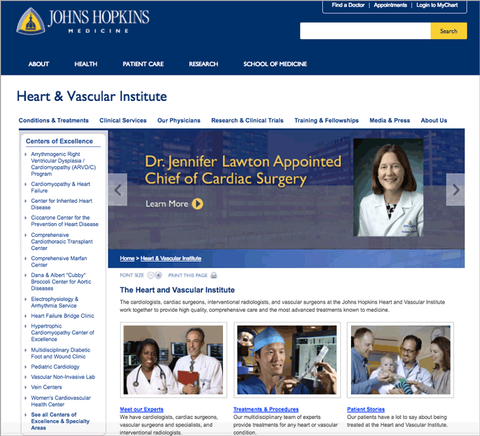 Figure 5: Johns Hopkins Heart & Vascular Institute landing page
