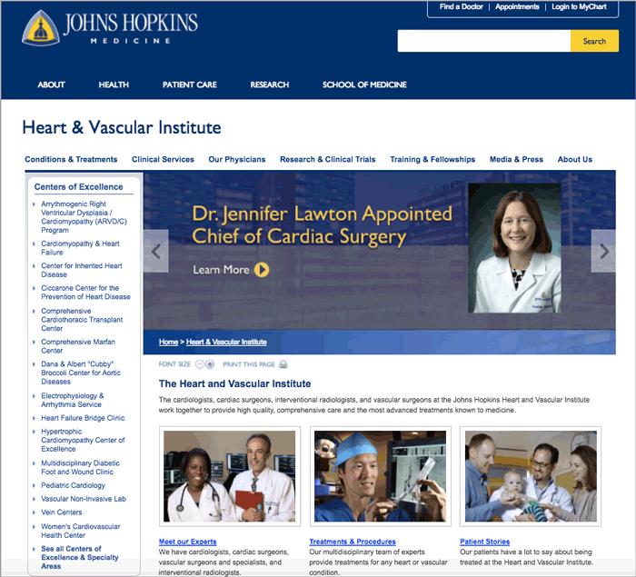 Johns Hopkins Heart & Vascular Institute landing page