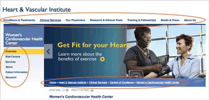 Figure 8: Johns Hopkins Heart & Vascular Institute landing page internal navigations