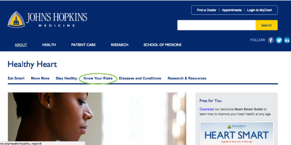 Figure 2: Hopkins Medicine Healthy Heart landing page
