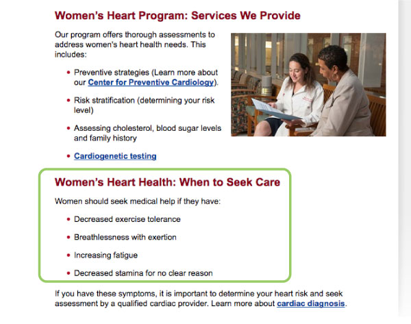 Figure 3: UMMC Women's Heart Health Program landing page