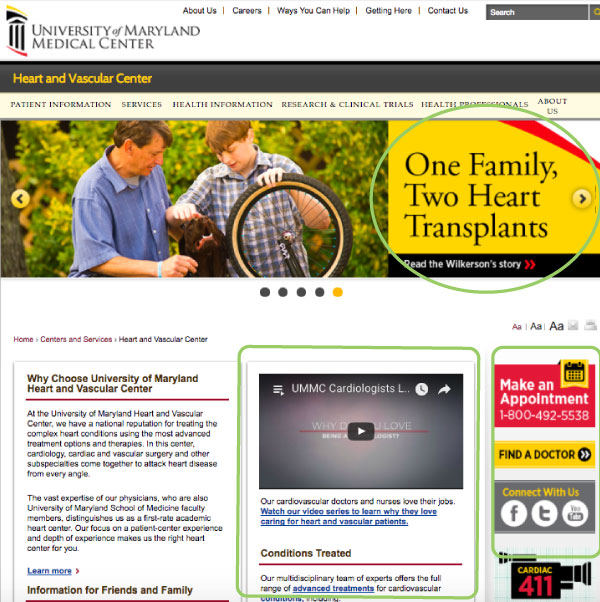 Figure 5: UMMC Heart and Vascular Center landing page