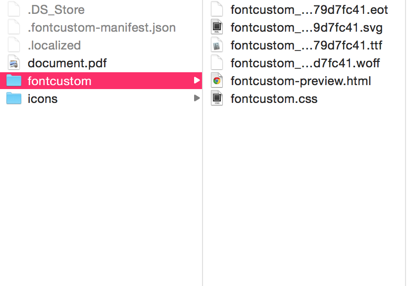 Screenshot of fontcustom folder