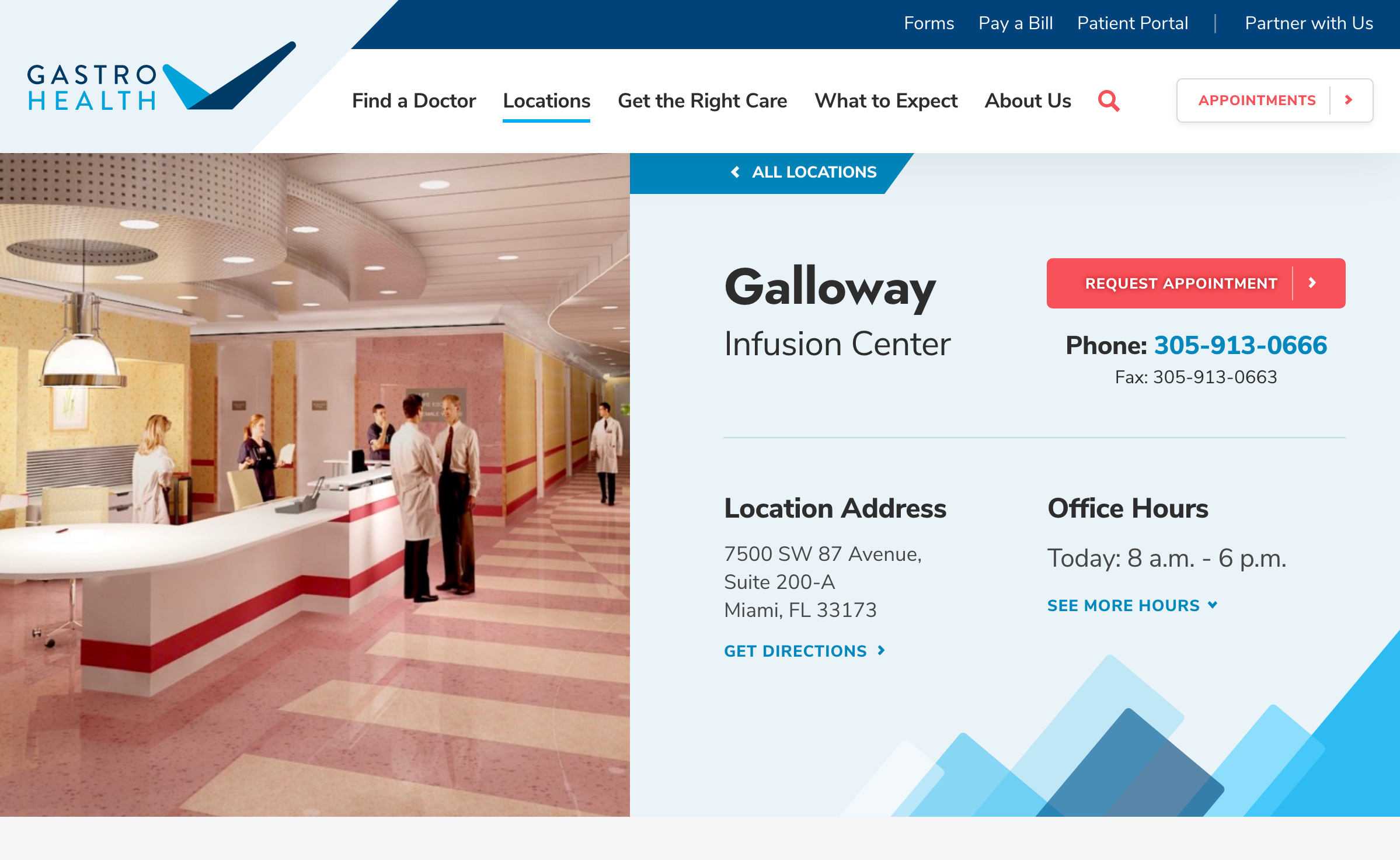 Screenshot of Gastro Health Galloway Infusion Center location page