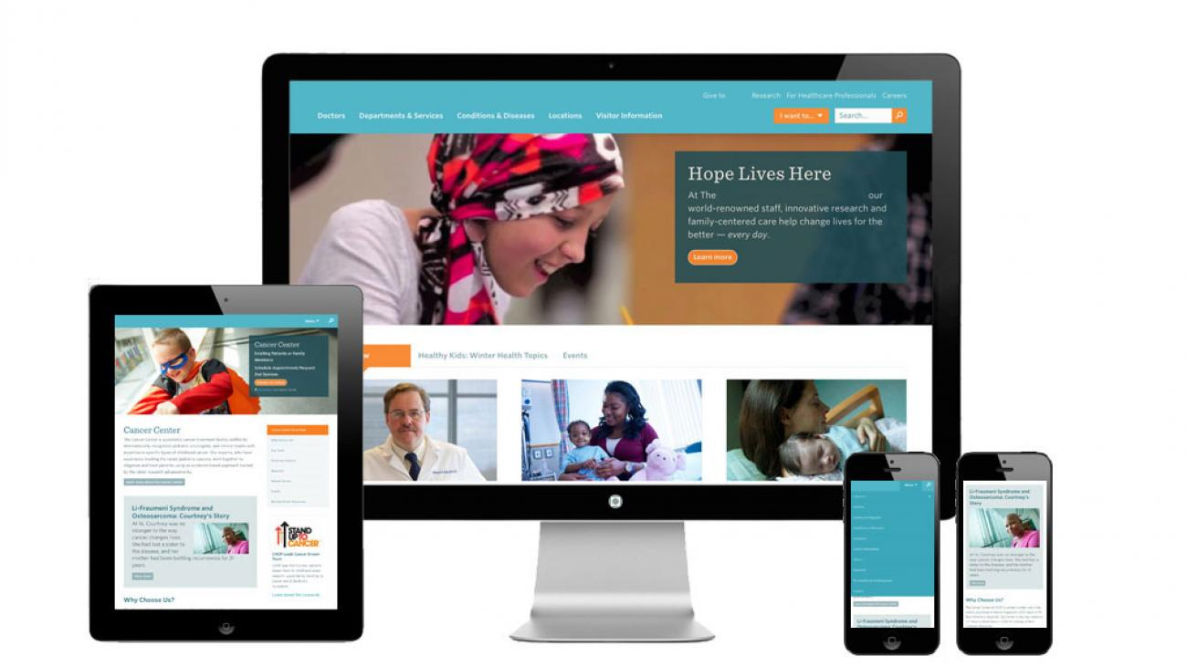 Hospital's website mocked up on a computer, tablet, and phone to showcase its responsive design