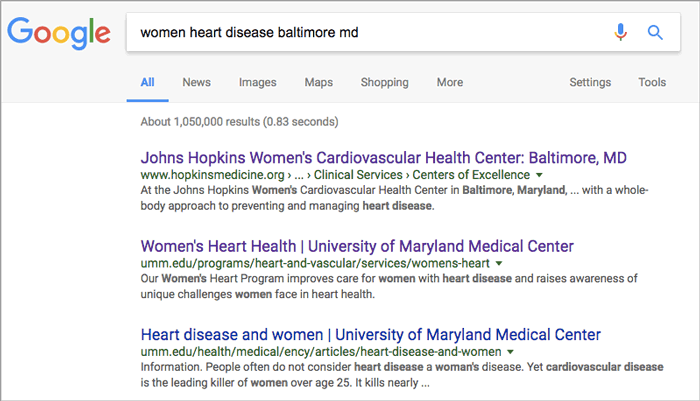"Figure 1: Google search with ""women heart disease baltimore md"" as key words"