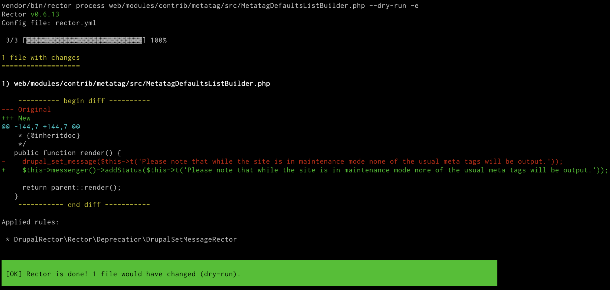 Image of terminal window running composer command for drupal-rector