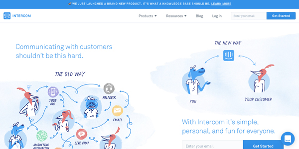 Screenshot of intercom homepage