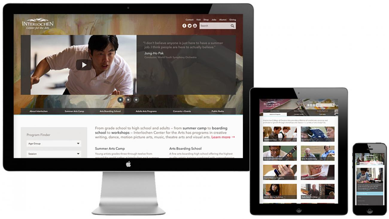 Interlochen's site displayed on various devices to showcase it's responsive design