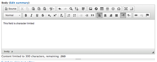 Screenshot of WYSIWYG editor displaying maximum characters.
