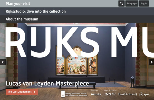 Screenshot of Rijks Museum website