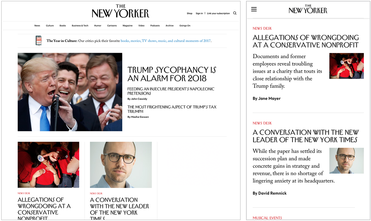 New Yorker homepage