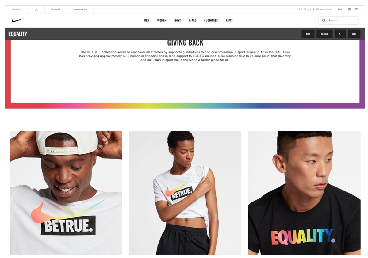 A screen capture from the Nike Be True campaign landing page.