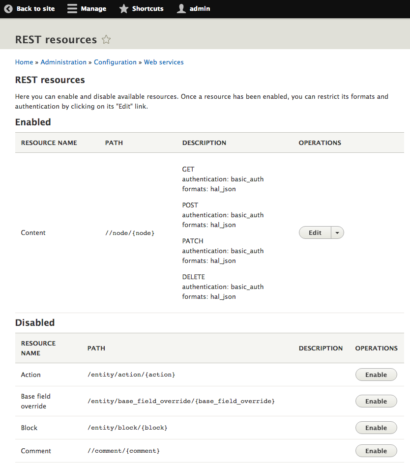 Screenshot of REST resources