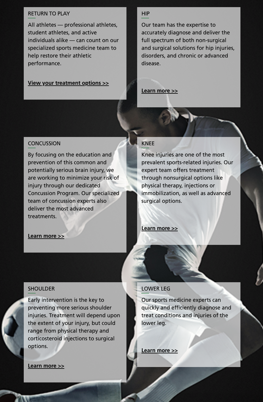 Sports Medicine homepage