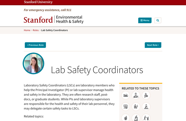 Individual role page for Lab Safety Coordinator