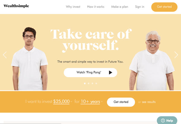Screenshot of Wealthsimple homepage