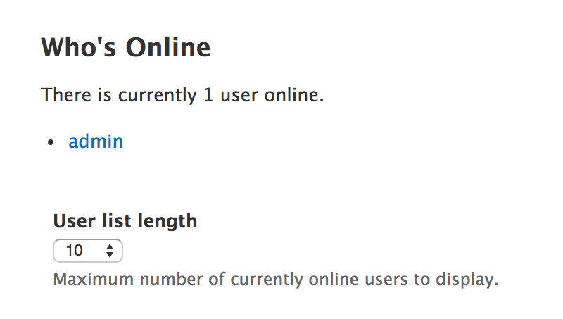 Screenshot reading: Who's Online. There is currently 1 user online.