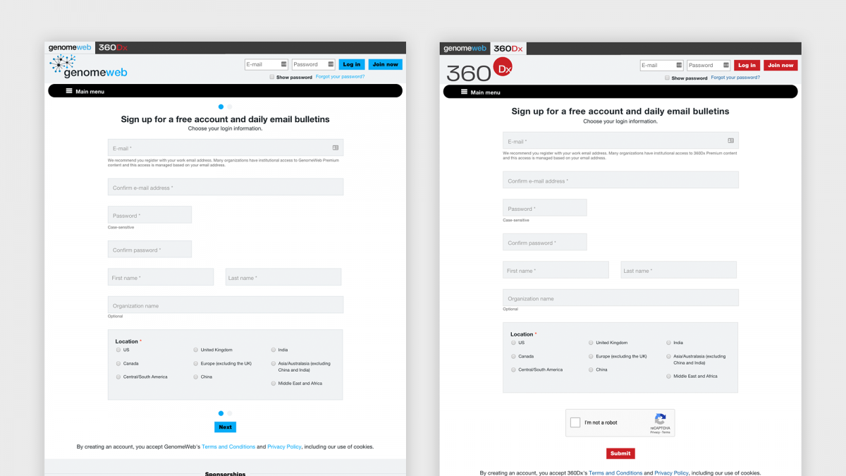 Comparison of the two site's registration forms