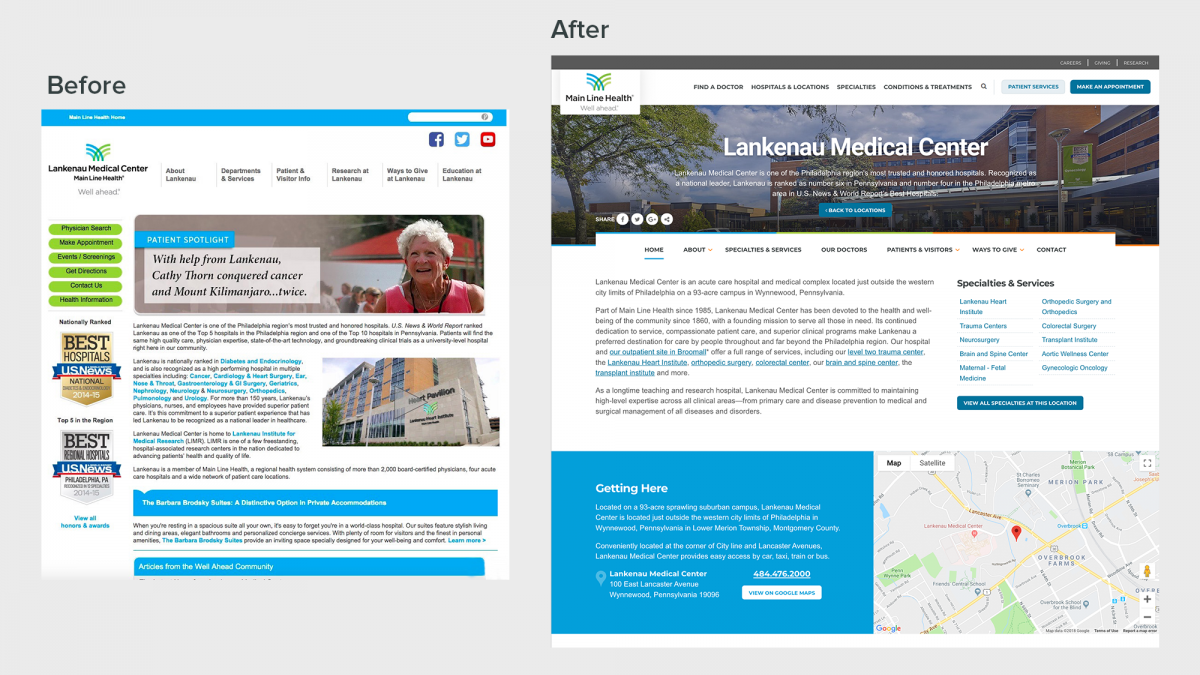 Before and after of Lankenau Medical Center page