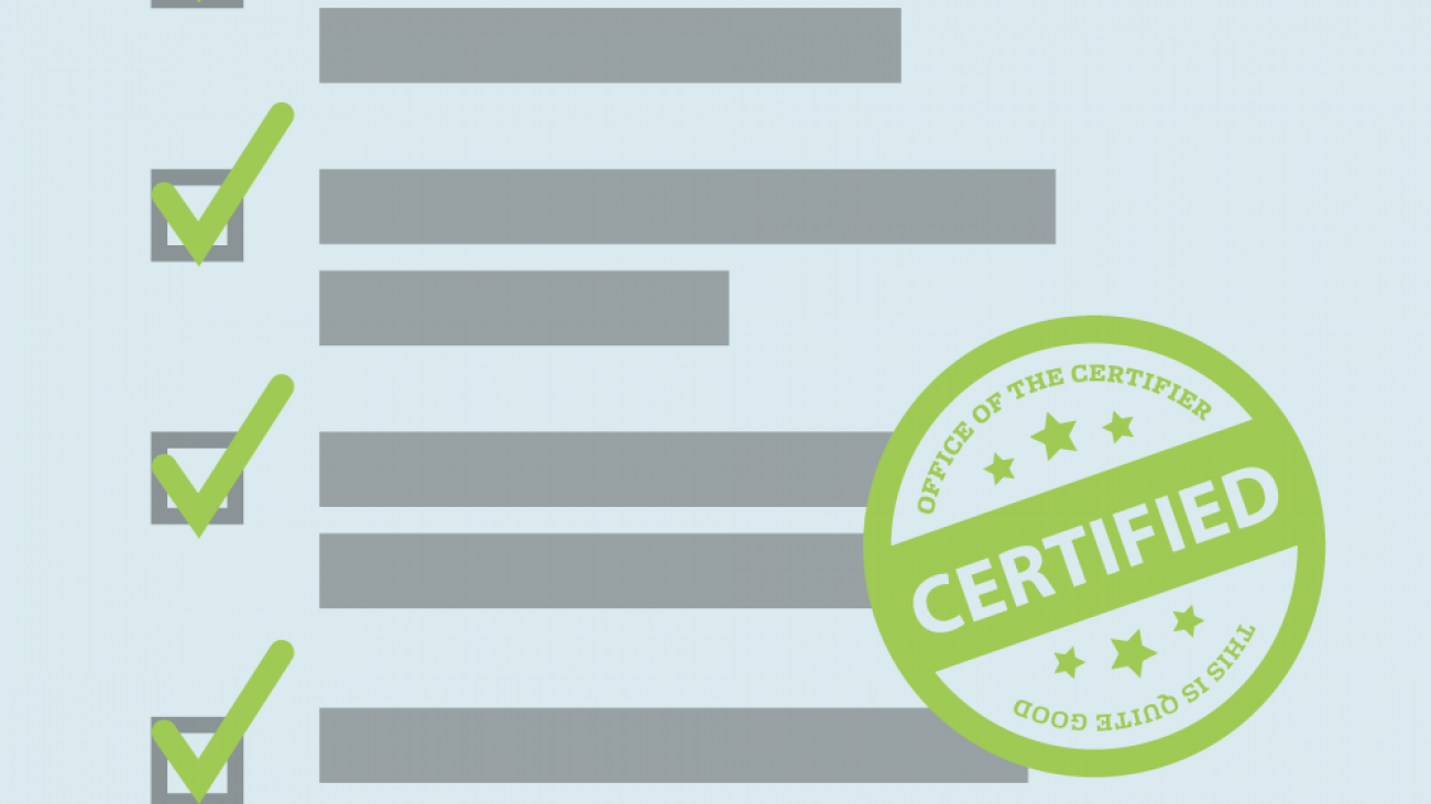 "Illustrated check list with badge reading ""Certified"""
