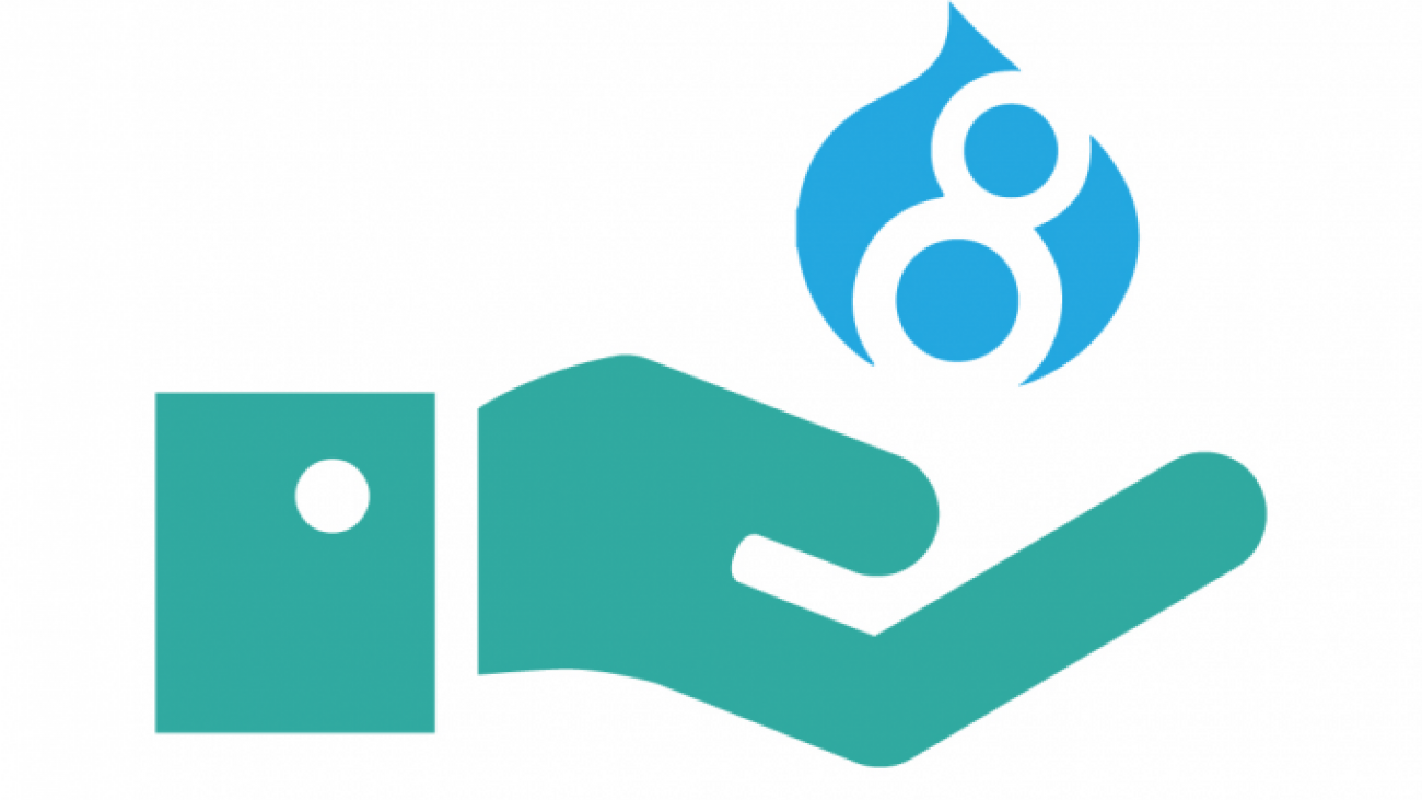 Illustration of hand holding up Drupal 8 logo