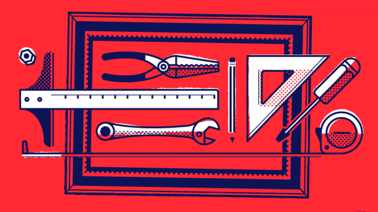 Illustration of various small tools on top of a picture frame
