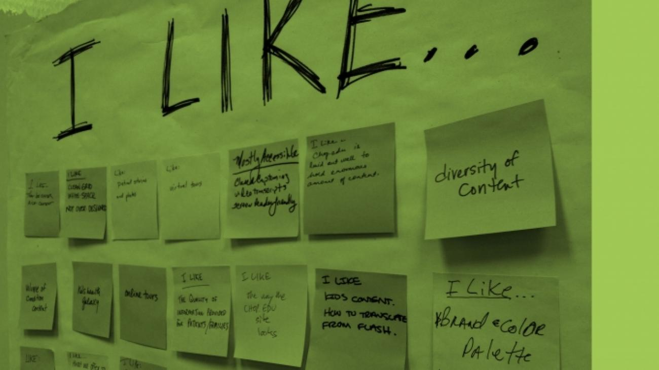 "Photo of post-it notes under the words ""I like..."""